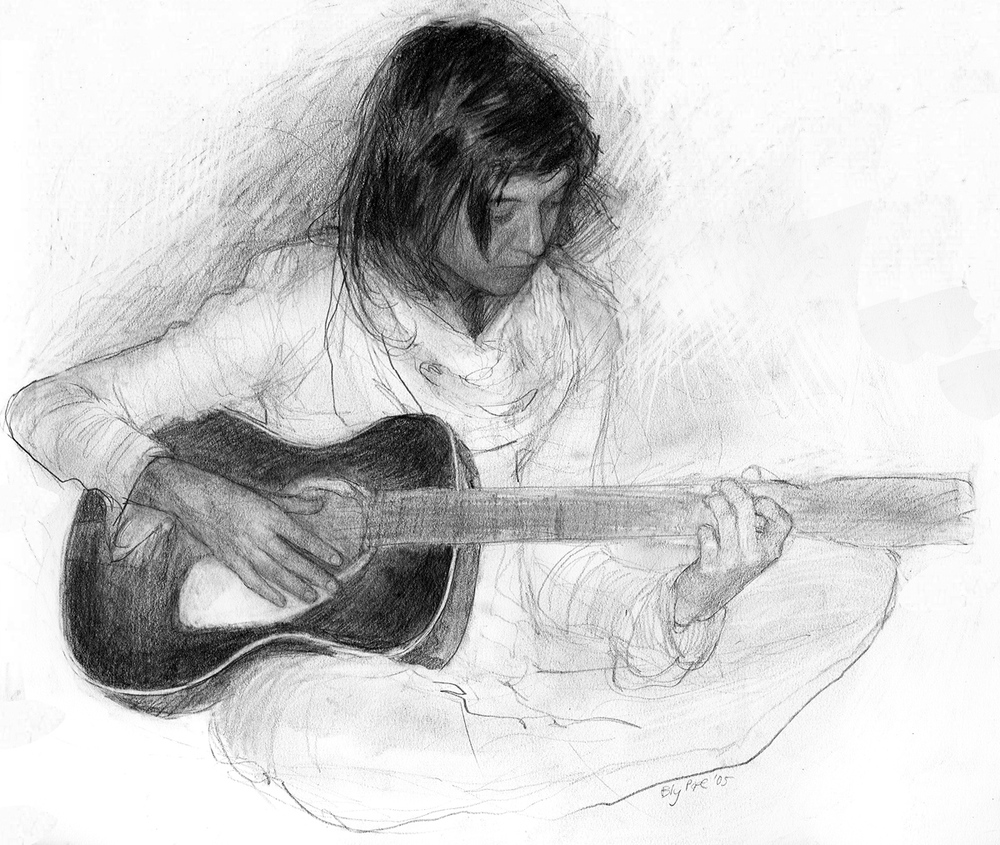 "Emily with Guitar, pencil, 8"" x 11"" - by Bly Pope"