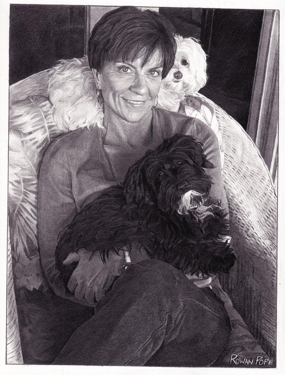 "Jeanna, with Greta and Louie, pencil, 10"" x 8"" - by Rowan Pope"