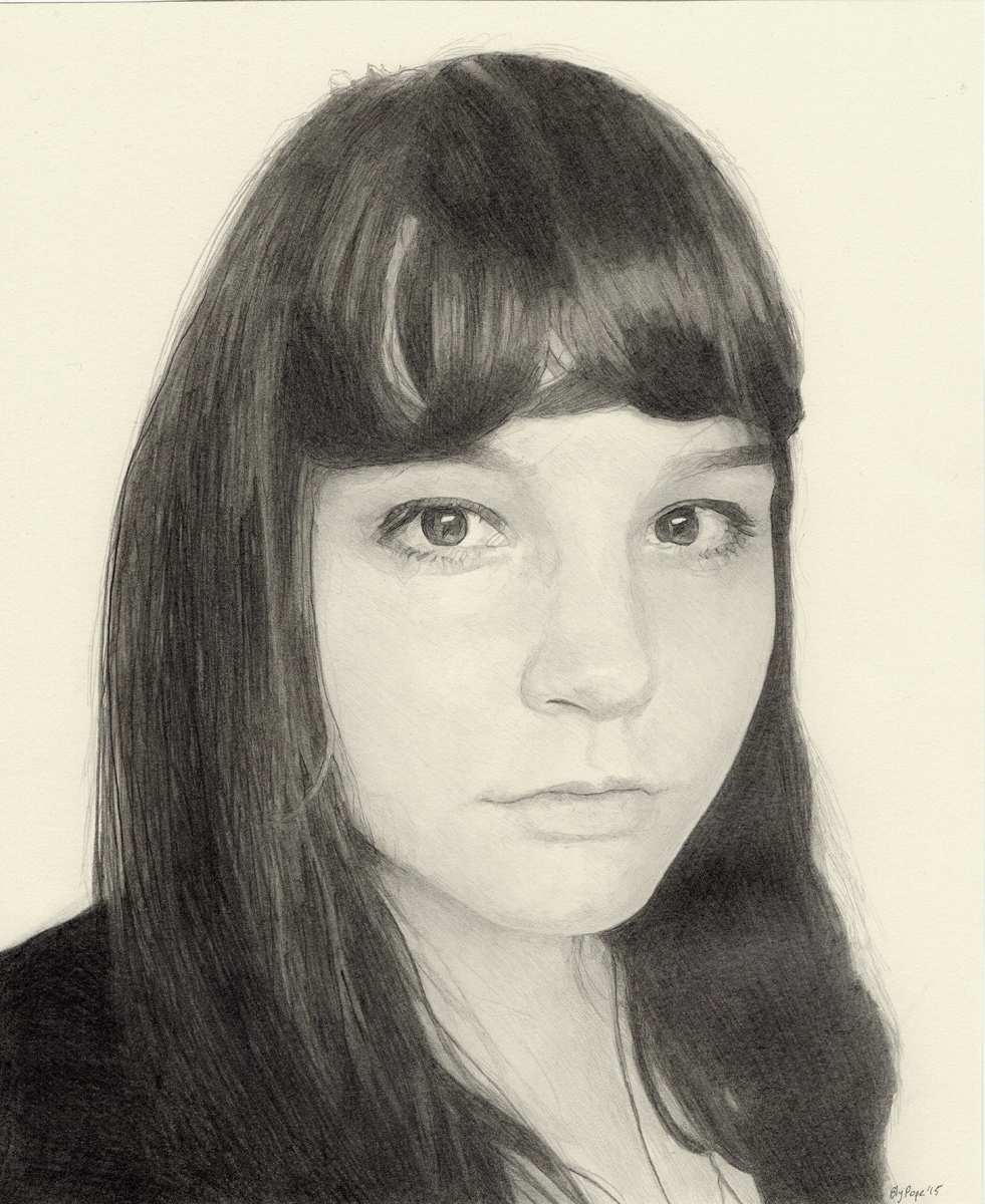"Kat, pencil, 9"" x 7"" - by Bly Pope"