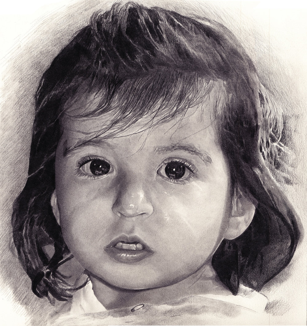 "Mia, pencil, 13"" x 11"" - by Rowan Pope"