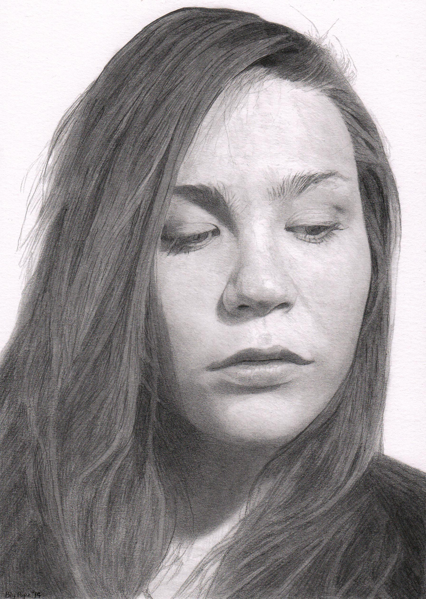 "Michela, pencil, 8"" x 6"" - by Bly Pope"