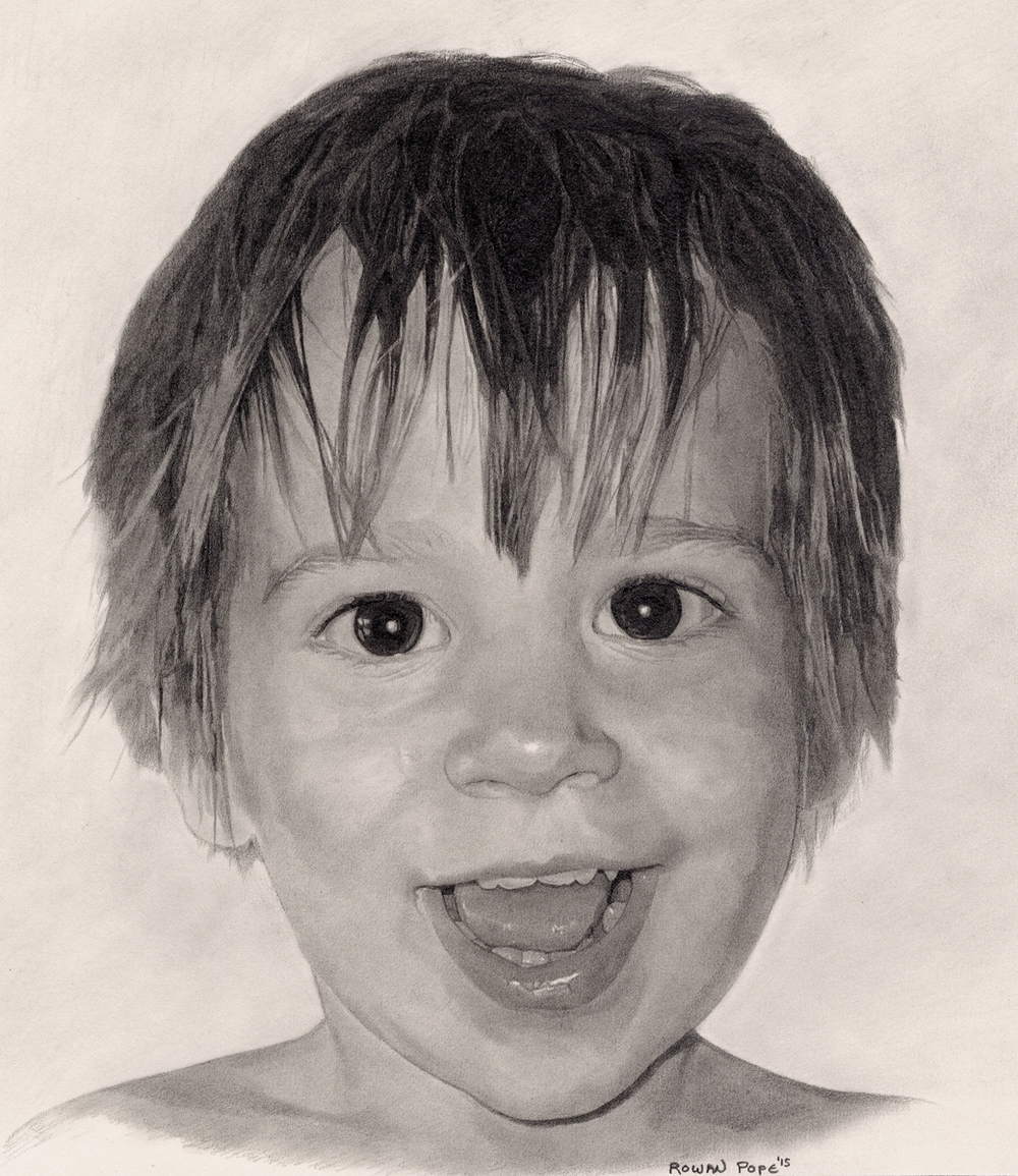 "Noah, pencil, 13"" x 11"" - by Rowan Pope"