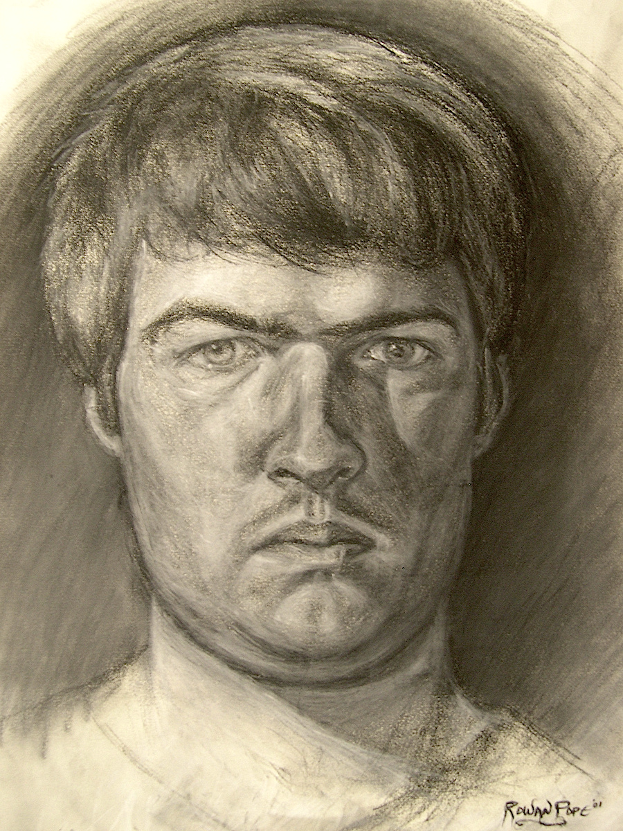 "Self-Portrait, charcoal, 24"" x 18"" - by Rowan Pope"