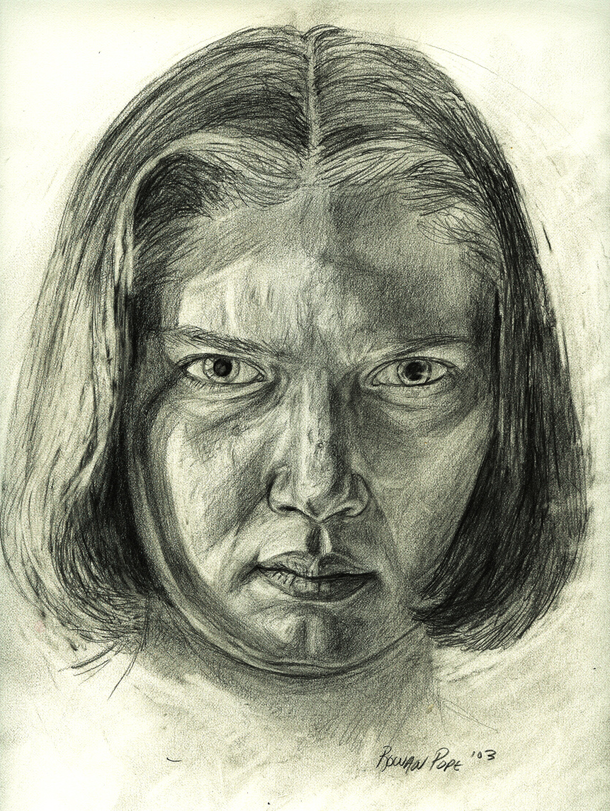 "Portrait of a Friend, pencil, 11"" x 9"" - by Rowan Pope"