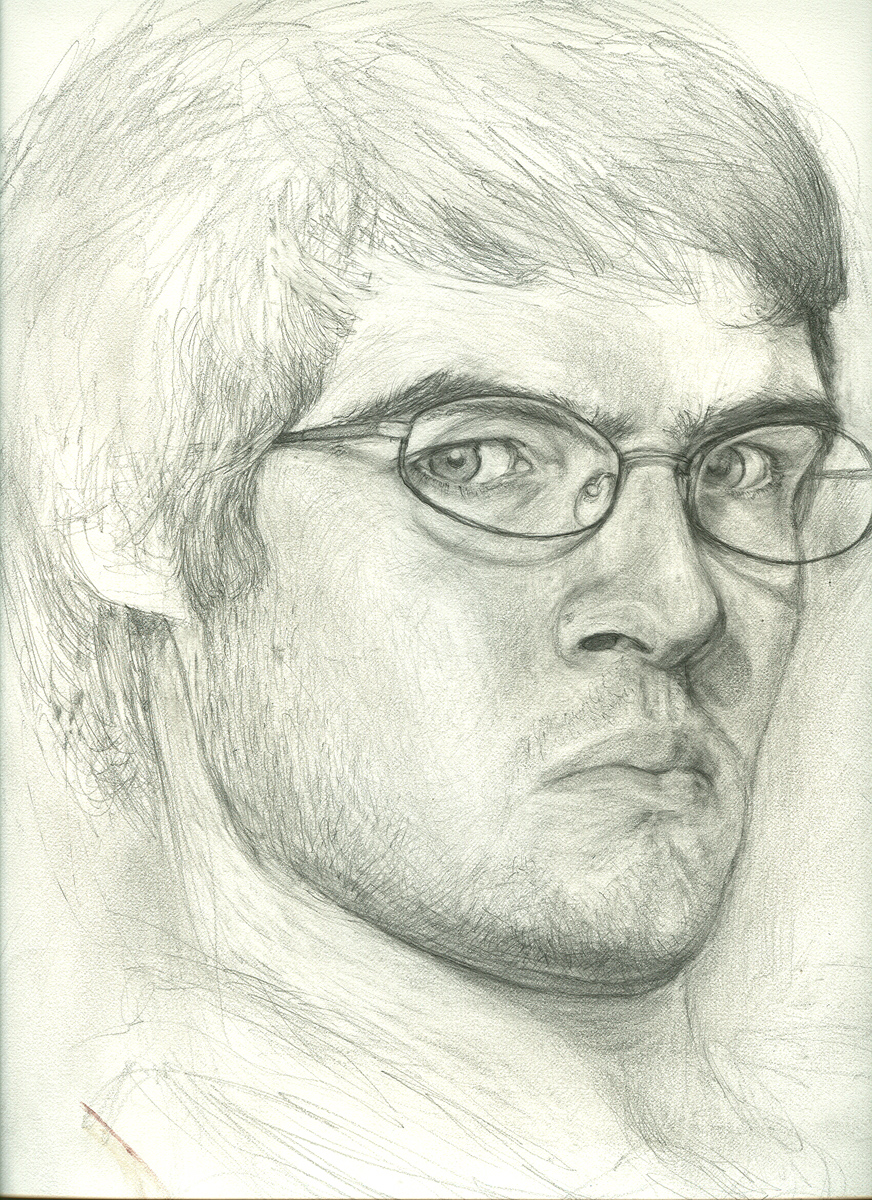 "Self-Portrait, pencil, 14"" x 11"" - by Rowan Pope"