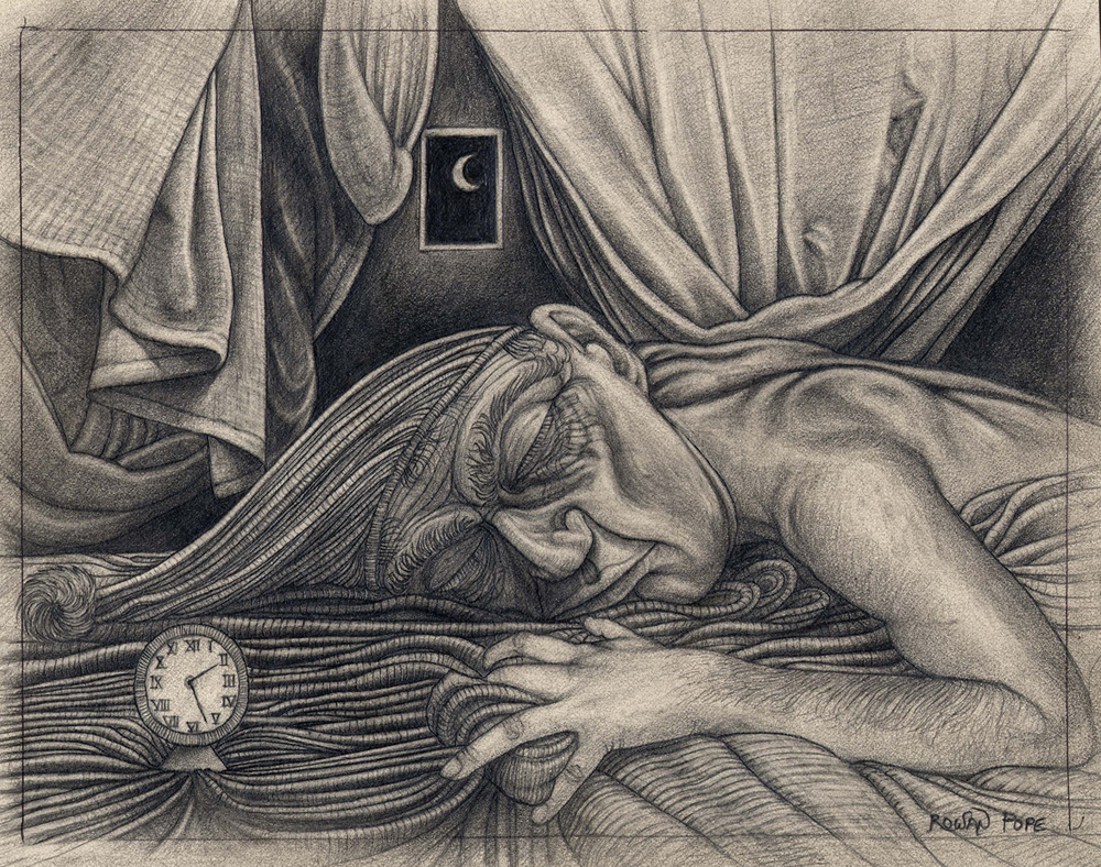 "The Sleeper, pencil, 7"" x 9"" - by Rowan Pope"
