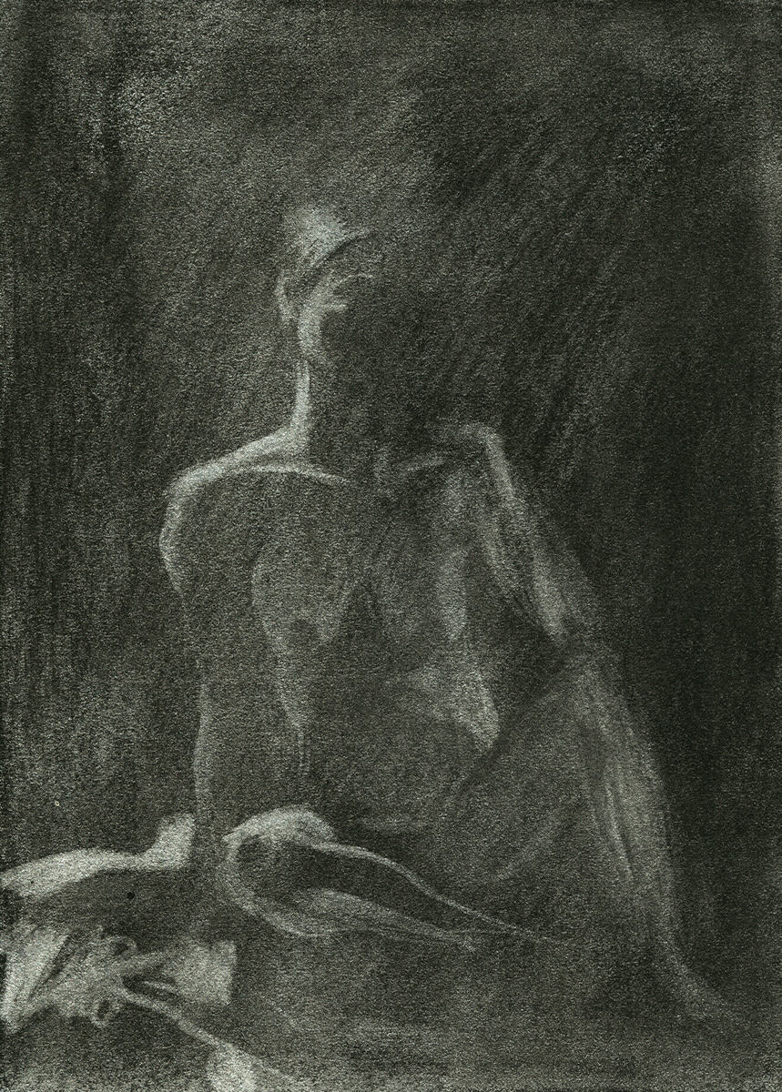 "Female Model 1, charcoal, 6"" x 4"" - by Bly Pope"