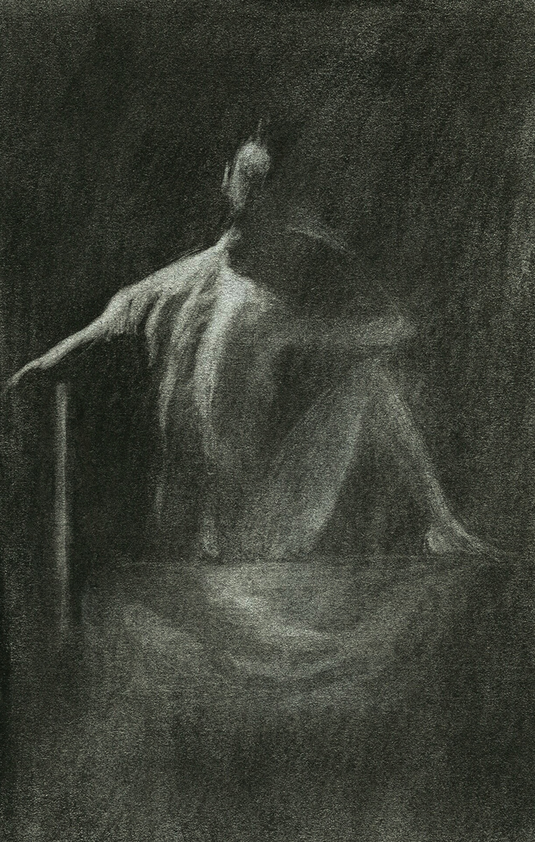 "Female Model 3, charcoal, 6"" x 4"" - by Bly Pope"