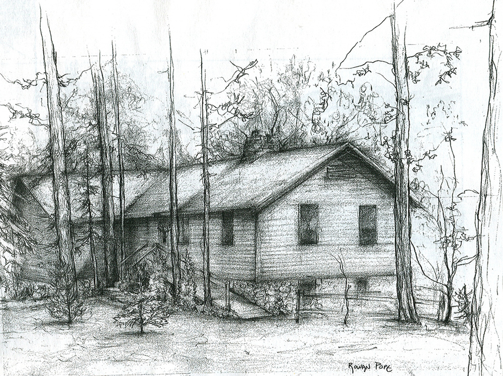 "Cabin, pencil, 12"" x 18"" - by Rowan Pope"