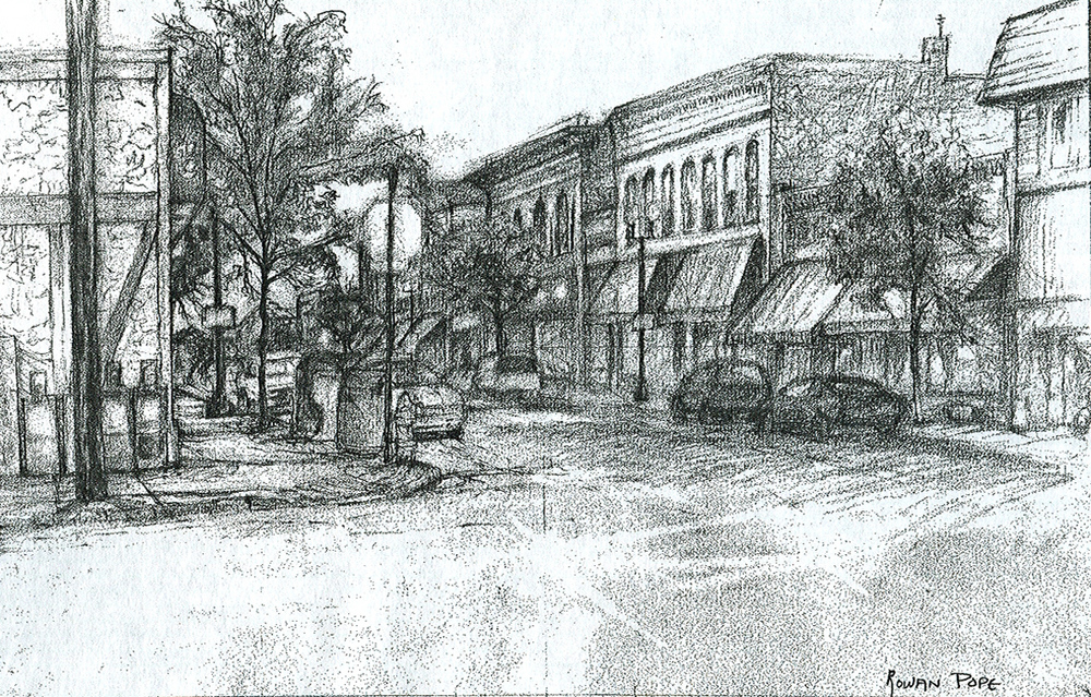 "Street 2, pencil, 9"" x 14"" - by Rowan Pope"