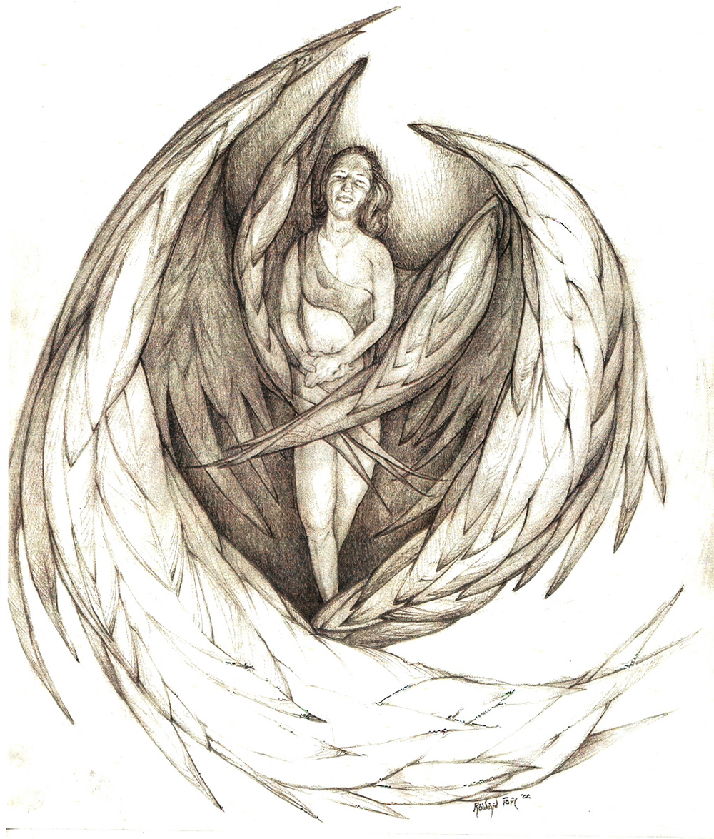 "Angel, pencil, 16"" x 14"" - by Rowan Pope"