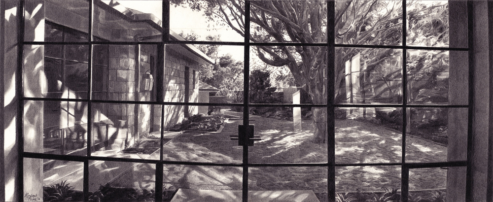 "Santa Barbara Windows, pencil, 7"" x 14"" - by Rowan Pope"