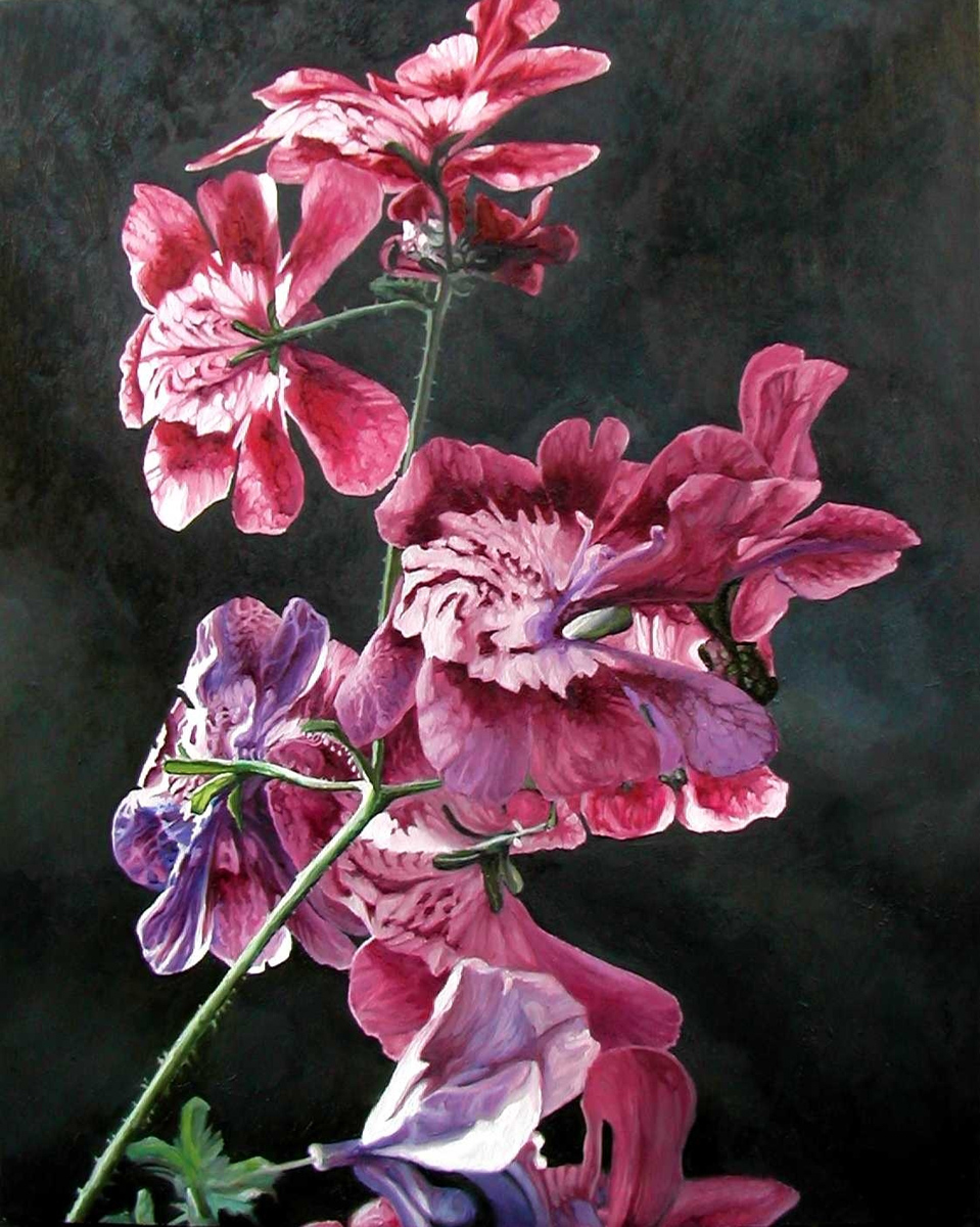 "Pink Flowers, oil, 30"" x 24"" - by Bly Pope"