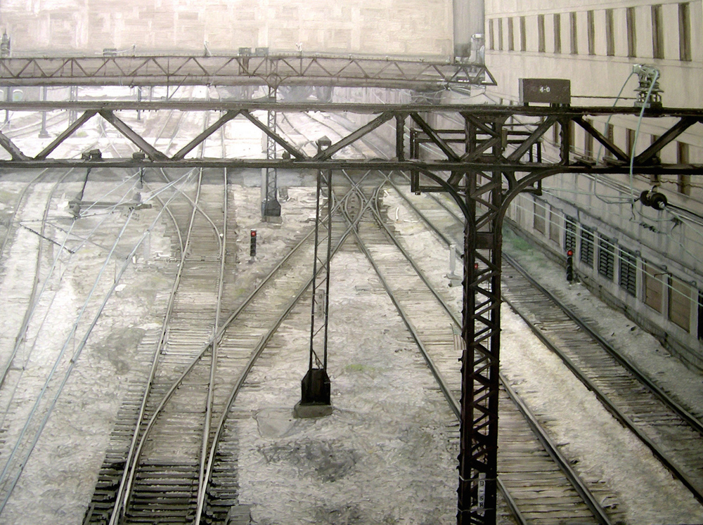 "Train Tracks, oil, 36"" x 48"" - by Bly Pope"