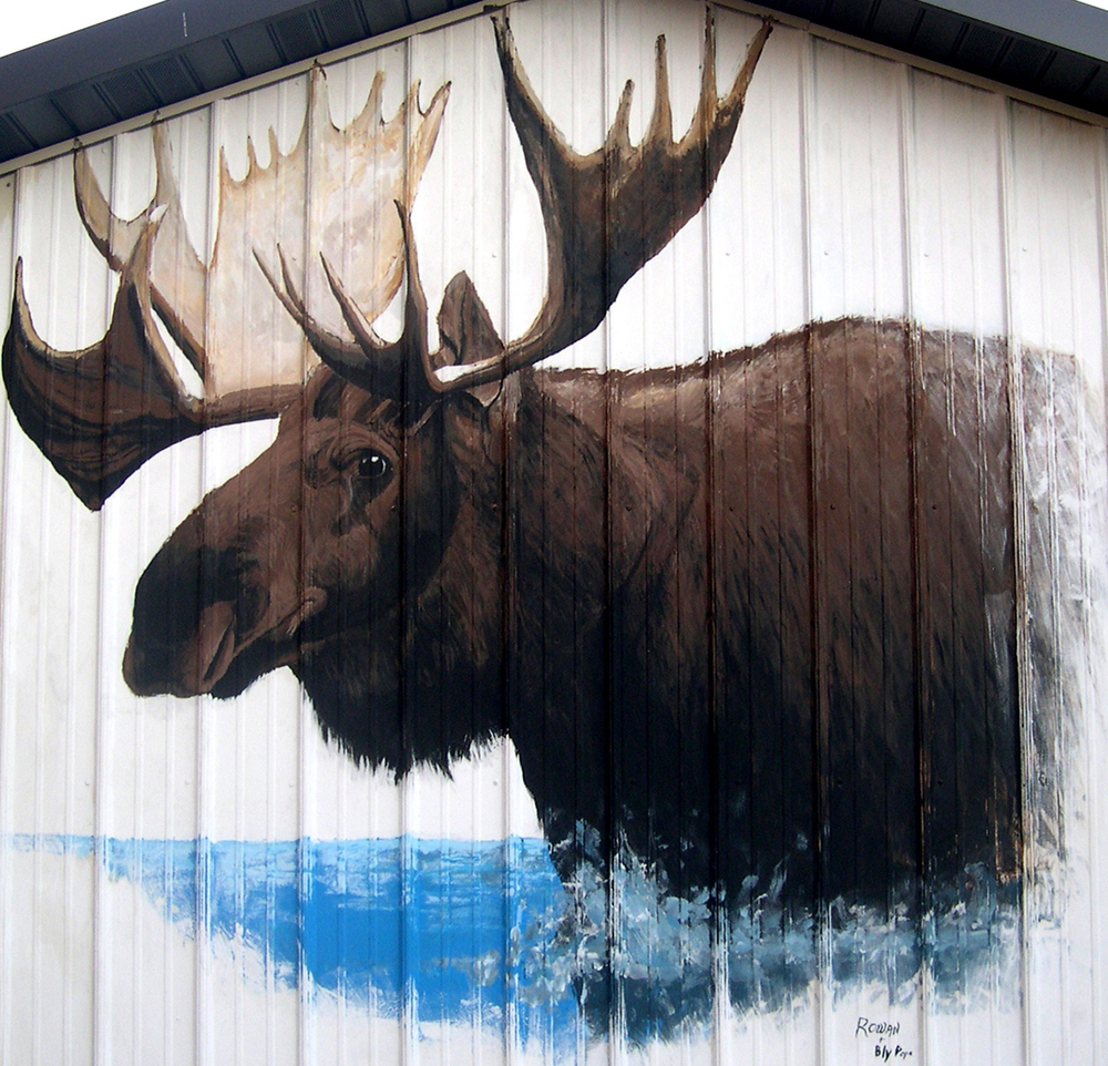 "Moose Mural, exterior acrylic, 84"" x 96"" - by Bly and Rowan Pope"