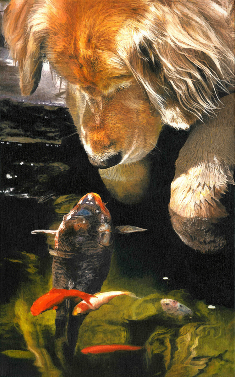 "Golden Retriever and Koi, oil, 16"" x 28"" - by Bly Pope"