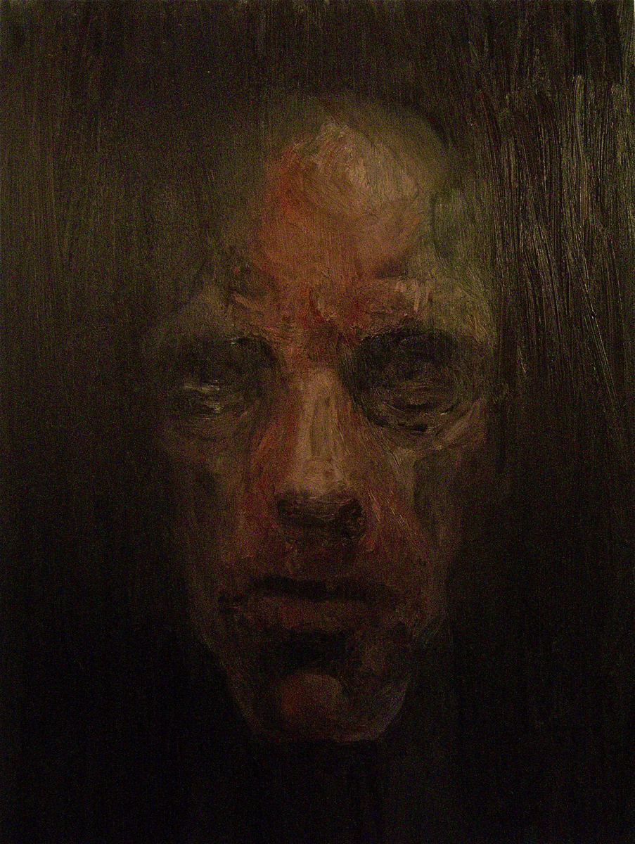 "Face in Darkness 1, oil, 48"" x 36"" - by Bly Pope"