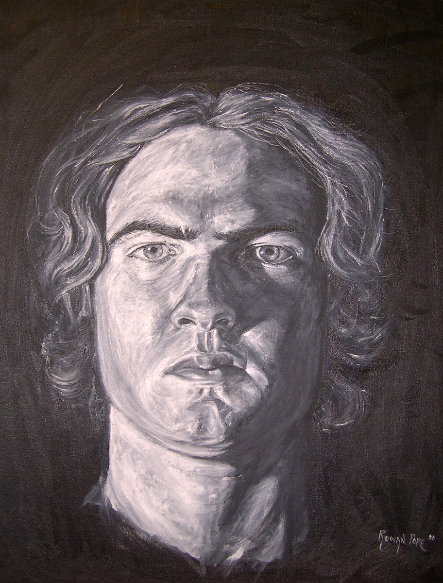 "Black-and-White Self-Portrait, oil, 30"" x 24"" - by Rowan Pope"
