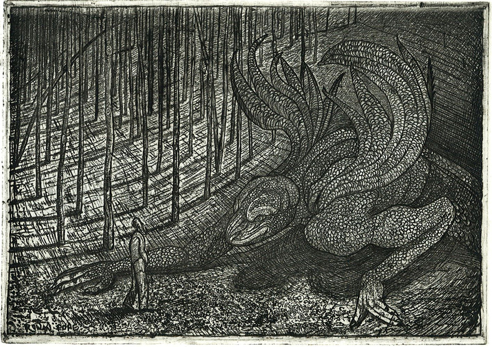 "Dragon, etching, 5"" x 7"" - by Rowan Pope"