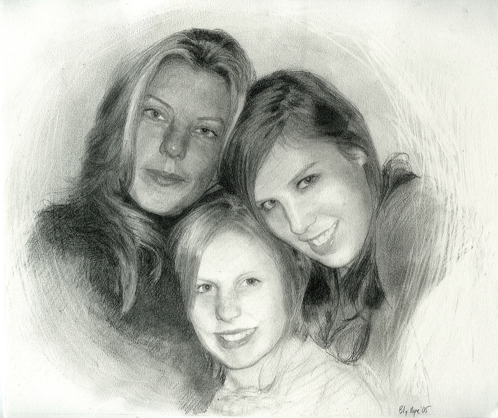 "Amy, Ally, and Carly, pencil, 7"" x 10"" - by Bly Pope"