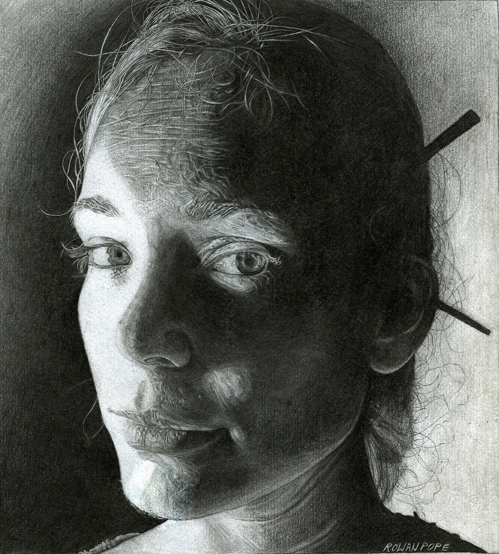 "Kara, pencil, 9"" x 8"" - by Rowan Pope"