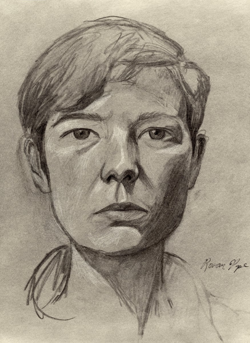 "Margaret, charcoal, 18"" x 13"" - by Rowan Pope"