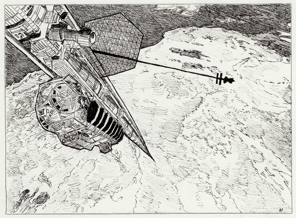 "Space Elevator, pen, 4"" x 6"" - by Bly Pope"