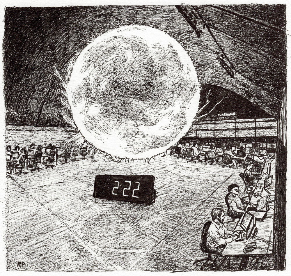 "Orb in Launch Room, pen, 5"" x 5"" - by Rowan Pope"