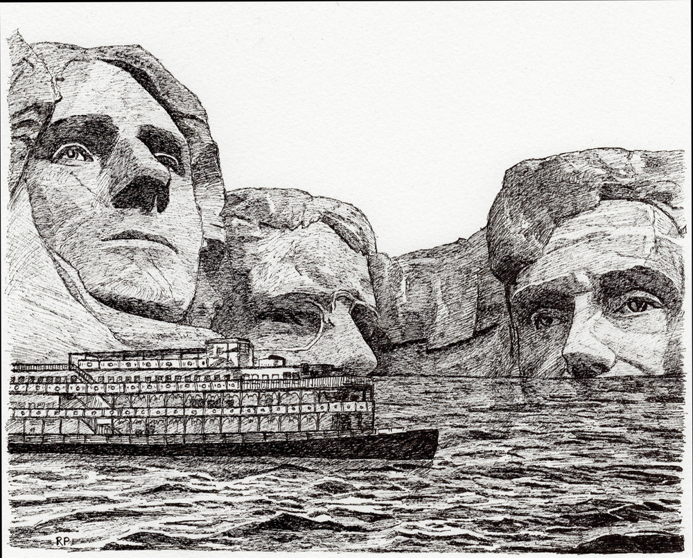 "Mount Rushmore, pen, 4"" x 6"" - by Rowan Pope"