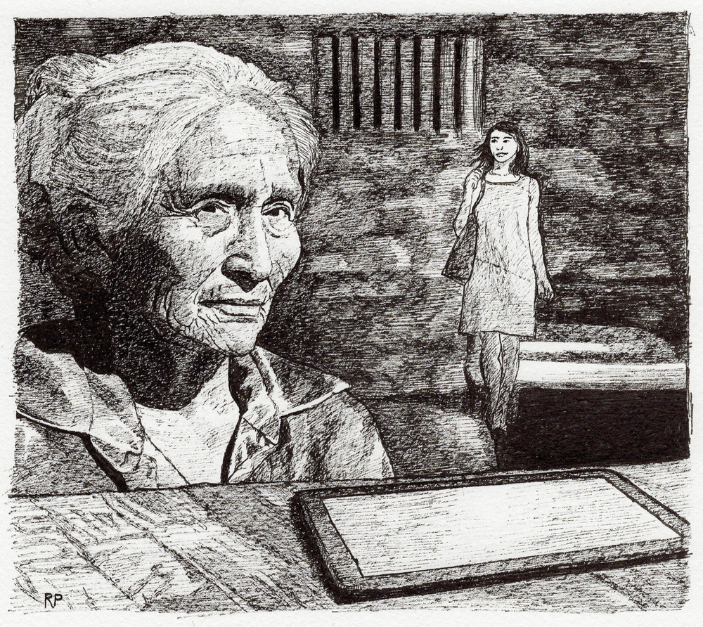 "Laura in Prison, pen, 4"" x 6"" - by Rowan Pope"