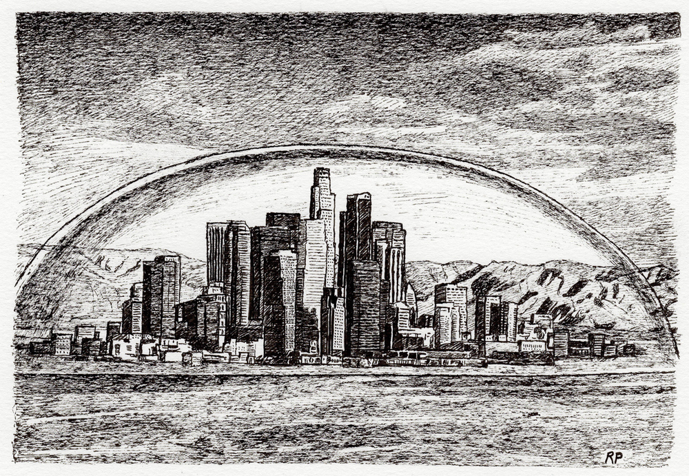 "L.A. Dome, pen, 4"" x 6"" - by Rowan Pope"