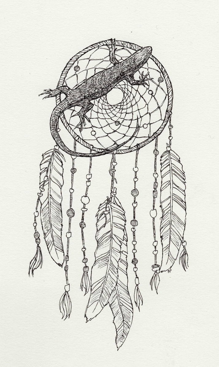 "Dreamcatcher with Lizard, pen, 6"" x 4"" - by Bly Pope"