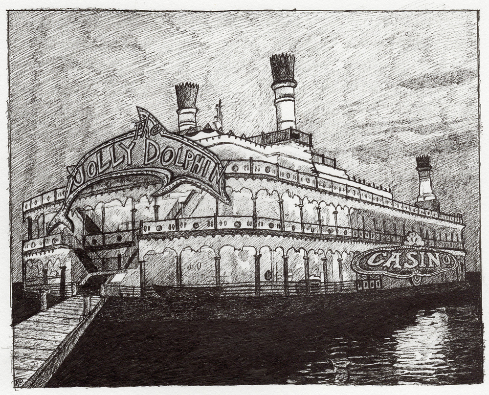 "Casino Barge, pen, 5"" x 7"" - by Rowan Pope"