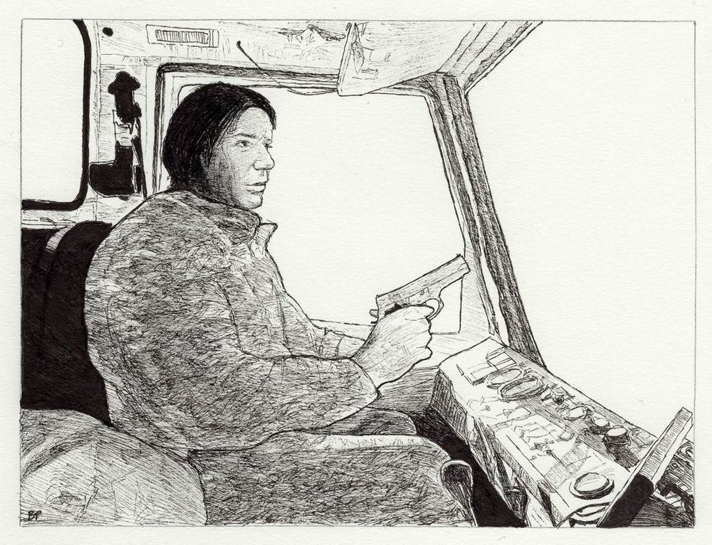 "Abe in Garbage Truck, pen, 4"" x 6"" - by Bly Pope"