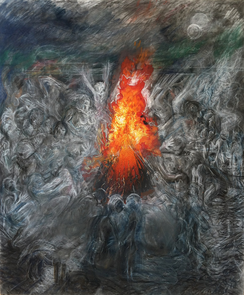 "Bonfire, oil, charcoal and chalk, 72"" x 60"" - by Rowan Pope"