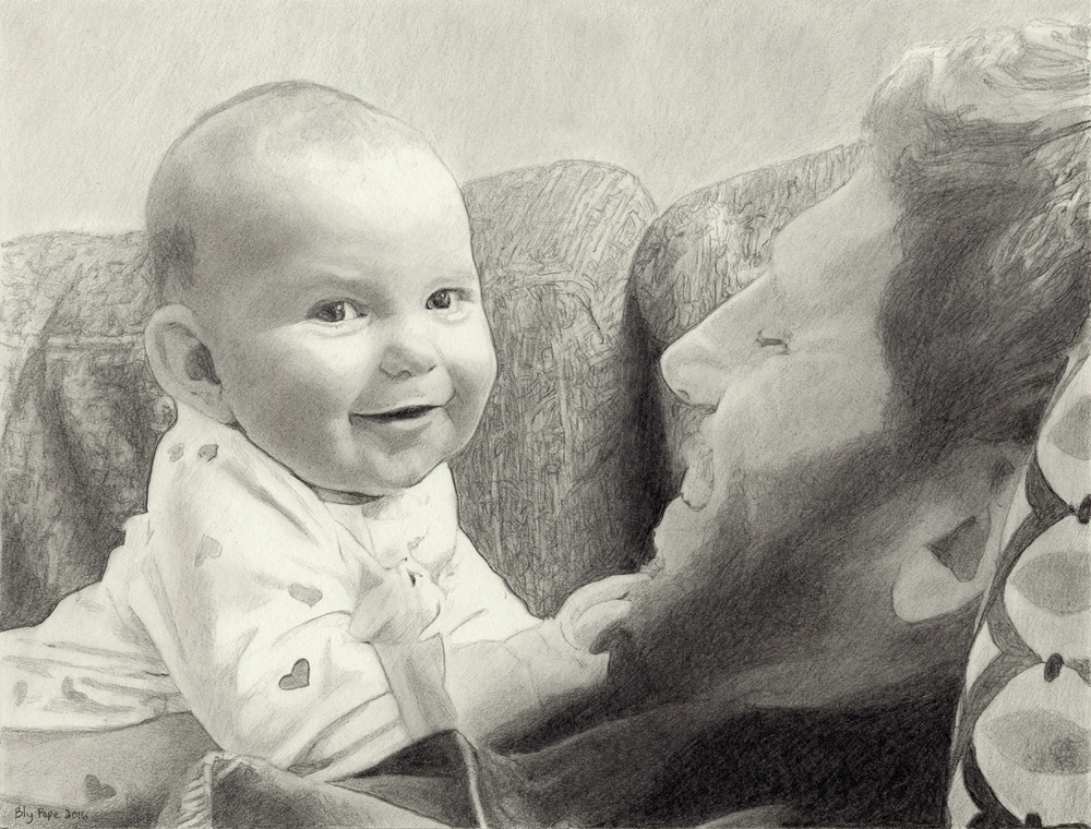"Ellie and Jon, pencil, 7"" x 9"" - by Bly Pope"