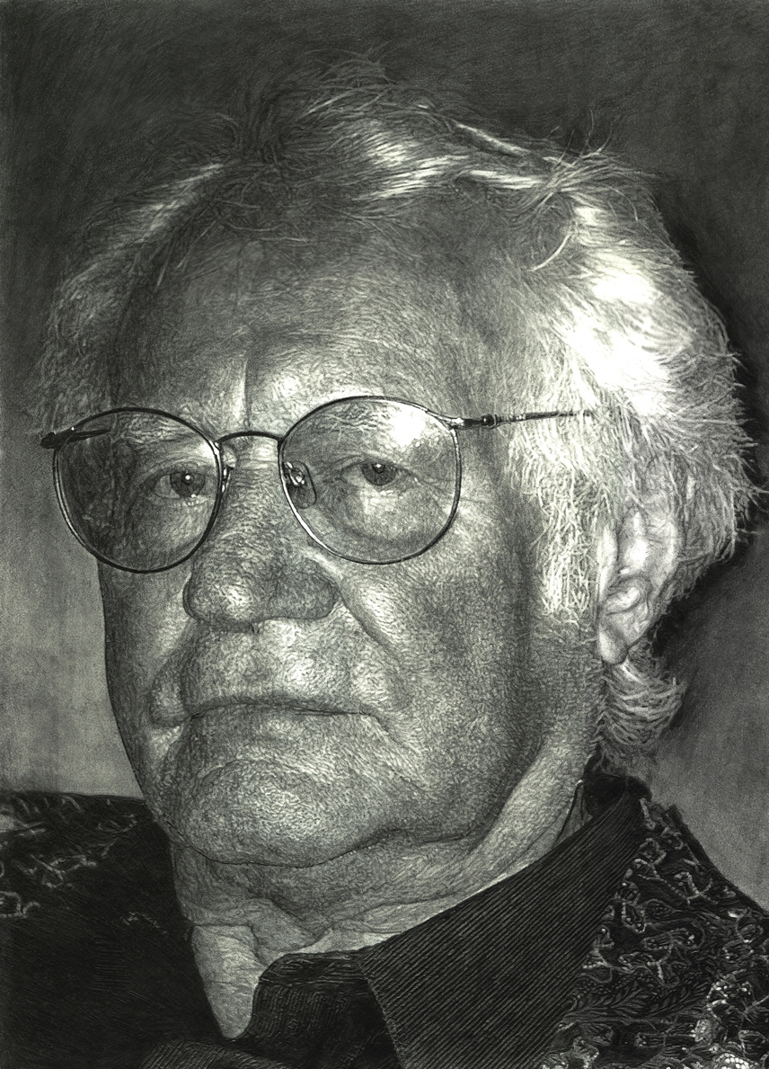 "Robert Bly, pencil, 14"" x 11"" - by Bly Pope"