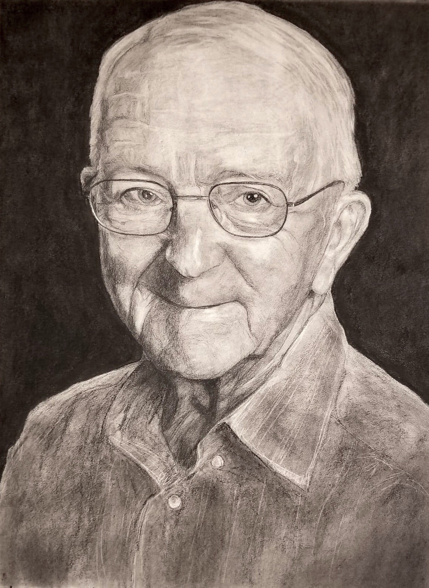 "Wally, charcoal, 24"" x 18"" - by Bly Pope"