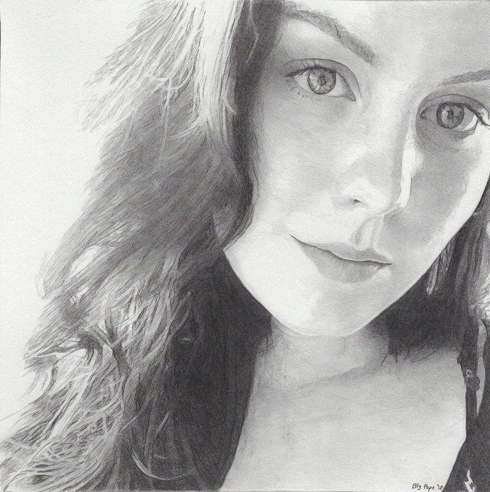 "Ally, pencil, 8"" x 7"" - by Bly Pope"