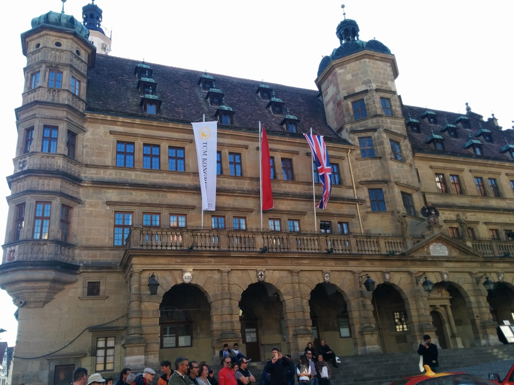 TCM Kongress flag flying outside the Rothenburg Town Hall (Rathaus) in the Market Square