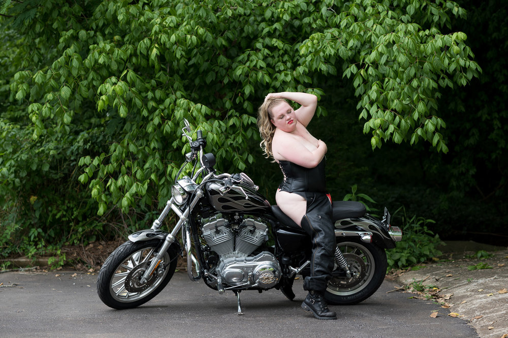Leather Corset Motorcycle Boudoir - D. Phillips Photography - Fort Campbell Clarksville Photographer - www.dphillipsphotography.com