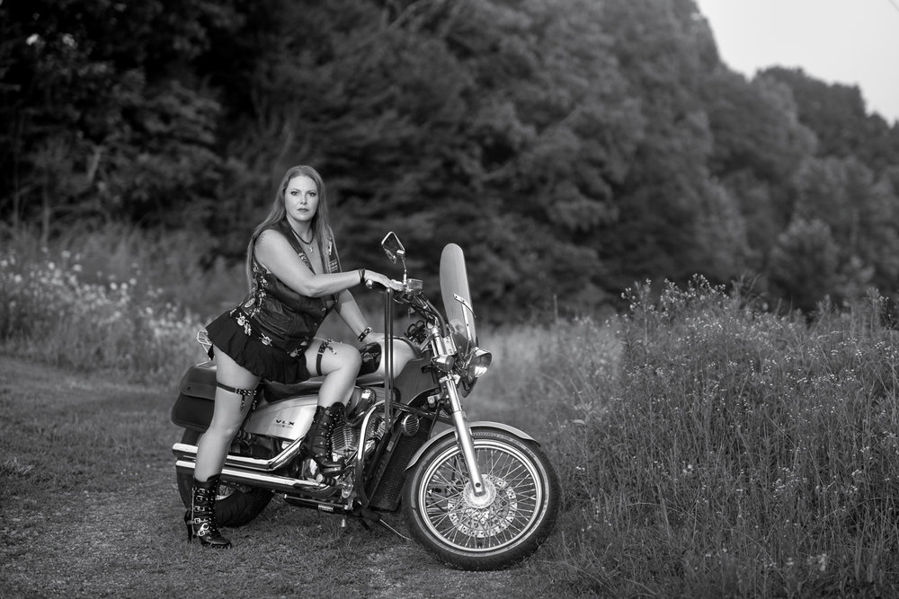 Motorcycle boudoir in Clarksville Tennessee with D. Phillips Photography