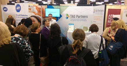The crowd at the 2015 NAHC Annual Meeting kept TAG Partners team members Billy Willis and Erica Johnson busy showing home care representatives different ways to enhance their visual presentation efforts.