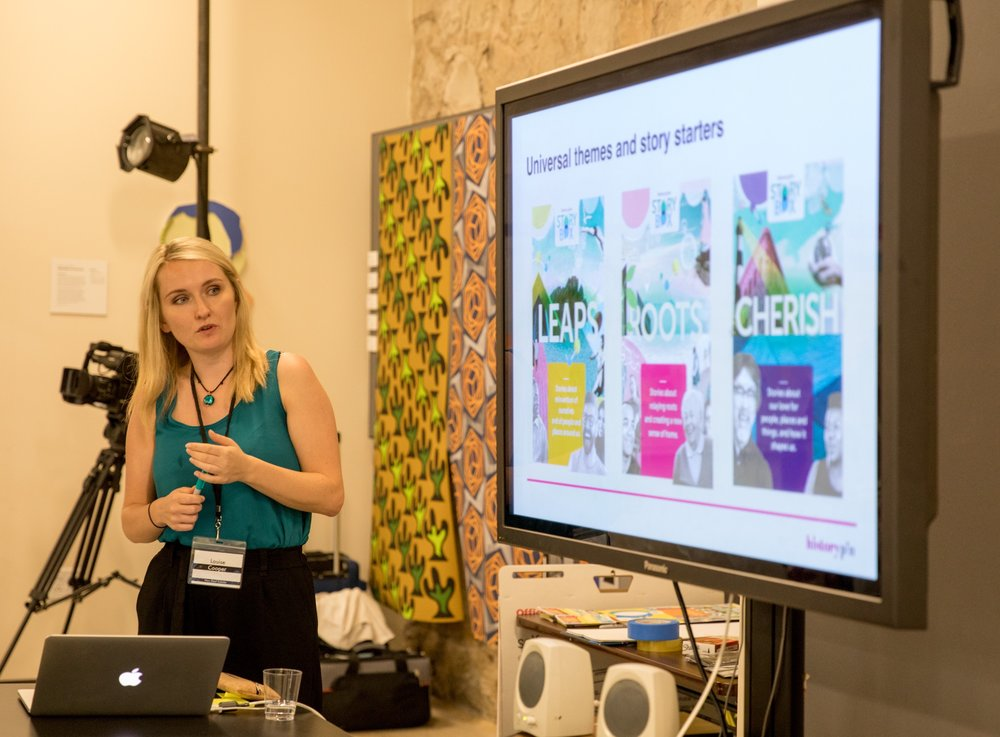 Senior service designer Louise presenting concepts for Storybox