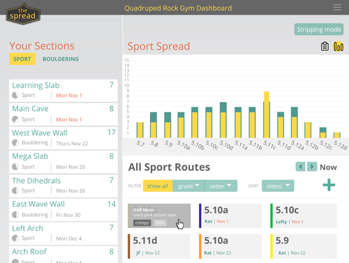 Get an overhead view of your gym's routes and spread.