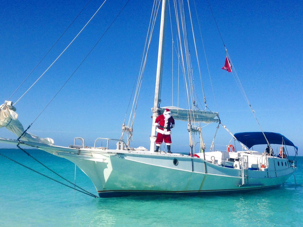 Annual Santa drop-off on Grace Bay Beach