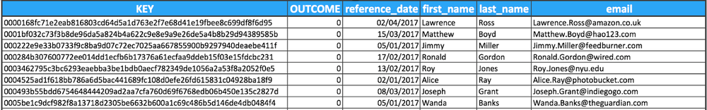 Table1: Customer reference table