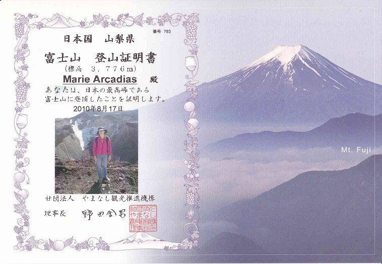 Marie's Certificate for climbing to the Mount Fuji