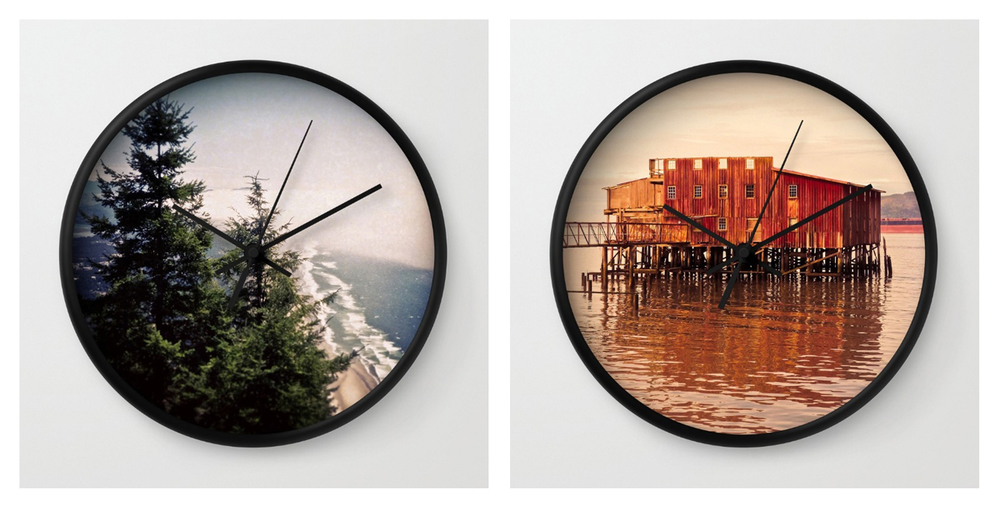 Oregon Coast's Neahkahnie Mountain and Astoria's Old Red net shed wall clocks