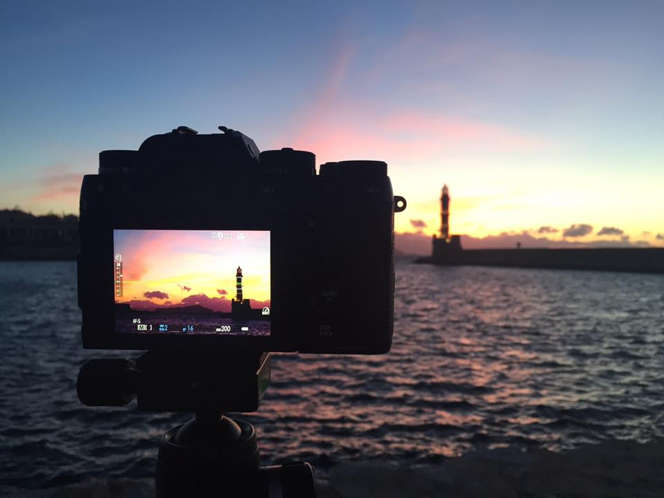 One of my Fuji XT-2's set up to shoot the sunset at Chania Lighthouse in Crete last month.
